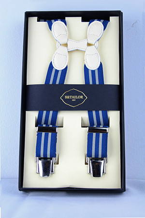 B&Tailor Stripe Suspender -White/Blue サスペンダー