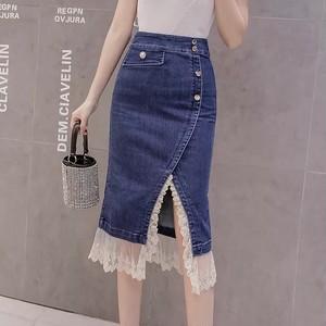 denim tight lace skirt