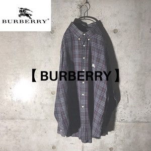 [BURBERRY] navy checked shirt