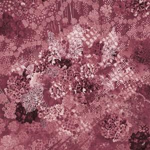 シフォンスカーフ[水の器 紫陽花浮かべて]ワインレッド