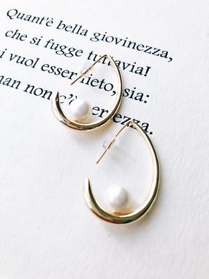 Pearldrop gold pierce (パールドロップ ゴールド ピアス)