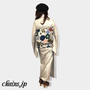 【名古屋帯】レトロ花柄×モノクロボーダー