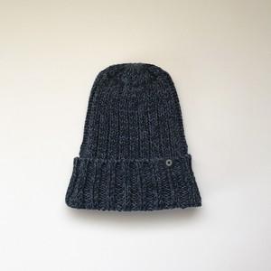 手横編機で作った・ローゲージニット帽  インディゴネイビー