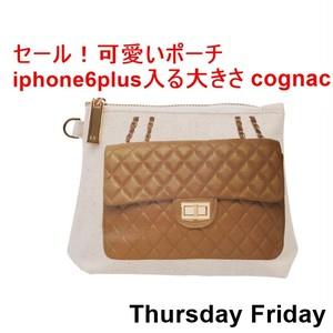 ThursdayFriday サーズデ―フライデー アメリカ の お洒落な プリント ポーチ cognac iphone6plus入る 大きさ スペシャル セール ハンドバッグ 海外 ブランド
