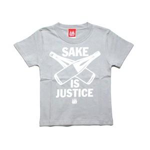 【KIDS SAKE Tシャツ】SAKE IS JUSTICE / シルバーグレー