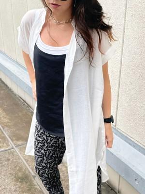 スキッパーシアーロングシャツ[Color:ホワイト]