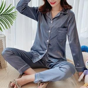 【パジャマ】多色展開長袖シンプルブレスト無地ルームウェアパジャマ上下セットパジャマ35260765