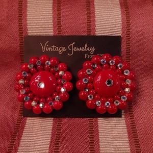 Vintage flower bijou plastic earrings フラワービジュー プラスチックイヤリング