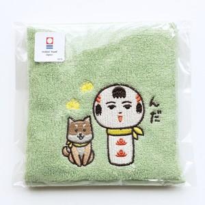 【今治産】仙台弁こけし ハンドタオル (ゴロと一緒・グリーン)
