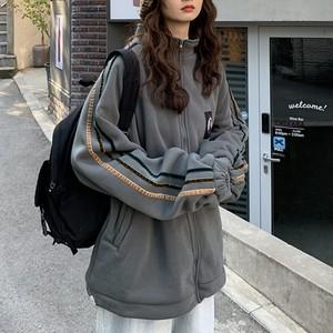 【アウター】韓国系レトロストライプ柄ファスナージャケット25690032