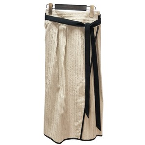 Fringe cut jacquard skirt <BEIGE>