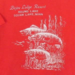USA古着プリントTシャツL赤Bojou Lodge Resort片面 綿100極美品51
