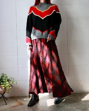 burgundy checked fringe skirt
