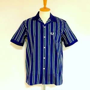 REVERE COLLAR SHIRT Navy Stripe