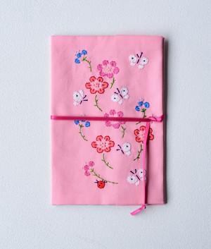 [D(ピンク地)]みずうちさとみさんの「天然生活手帖用オリジナル手帖カバー」布製【限定2個】