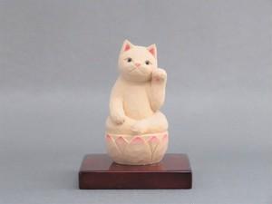 木彫り 左手で招き猫 猫仏2004