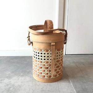 竹細工とヌメ革のバニティポシェット・Vanity-01