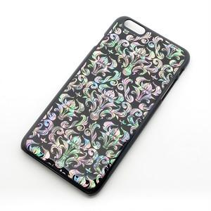 【期間限定特別価格】ダマスクブラックの天然貝スマホケース(iPhone/Xperia/Galaxy)<螺鈿アート>