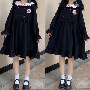 【ワンピース】学園風アバンギャルド売れ筋清新若見え配色刺繍ワンピース