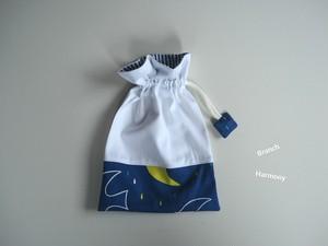 巾着バッグ 小 ☆ トリさん ブルー × 白