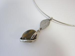 (IKUO)silver leaf×タイガーアイ チョーカー