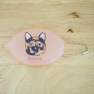 サビ猫ちゃん ラバーコインケース(クリアピンク)【チャリティー】
