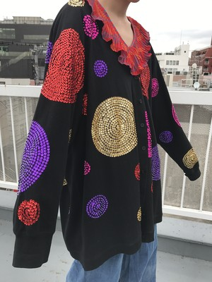 Vintage black spangle cotton haori