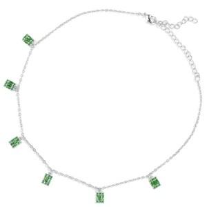 Bagutte 女性ウェディングキュービックジルコン カットラリアットネックレス流行 GeometricDubai シルバーペンダントネックレスSGR
