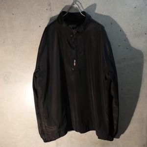 Black Nylon Design Pullover Jacket