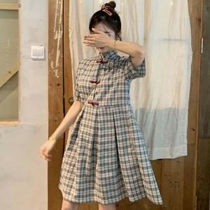 【ワンピース】夏新作中国風レトロチェック柄カジュアルキャミワンピース