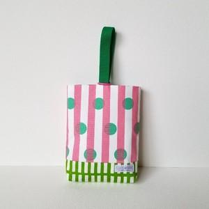 【再販】入園・入学*水玉×ストライプの上靴入れ(ピンク)