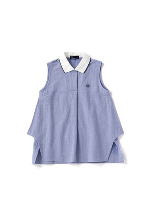 (フレッドペリー) FRED PERRY F5282 12 WOMEN SLEEVELESS SHIRT ノースリーブシャツ SAXE BLUE