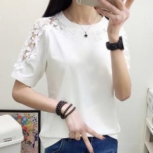 【トップス】合わせやすいレース切り替え透かし彫り半袖無地Tシャツ17637997