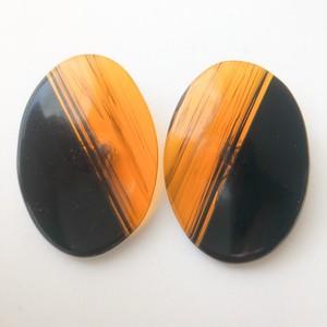 brown black oval earring[e-1110]