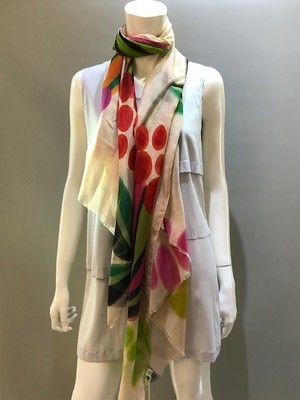 LARIOSETA(ラリオセタ)T1436/04026 Col.001 ポリエステル素材 イタリア製 プリントスカーフ