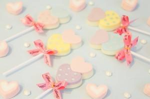 デコチョコ ダブルハートのロリポップチョコレート  バレンタイン