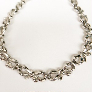 """Trifari"" silver bow necklace[n-191]"