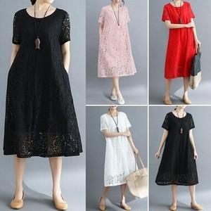 レディース 花柄レースワンピース フレア ロング 半袖 2019 / Women's Large size thin and loose fashion long skirt 2019 new dress (DCT-587692535096)