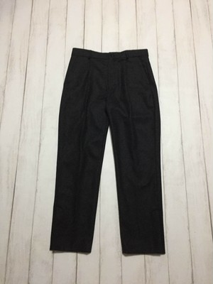 side slit wool slacks / dark grey