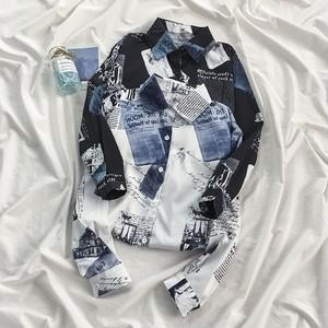 【トップス】韓国系 POLOネック プリント 配色 シングルブレスト シャツ42200755