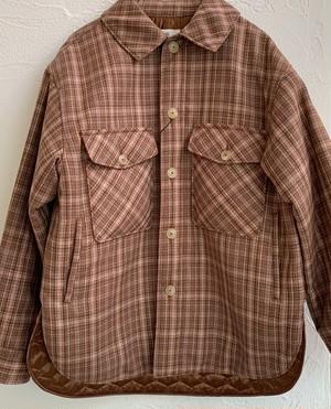 checked wool-amundsen padded shirt jacket | unfil