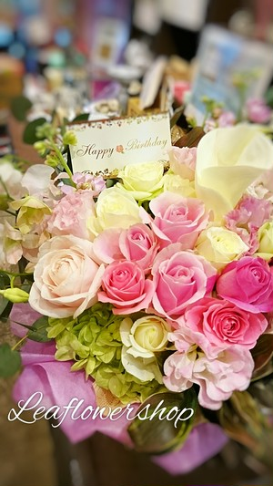 【生花アレンジメント】:お祝い記念日ギフトおまかせピンク系