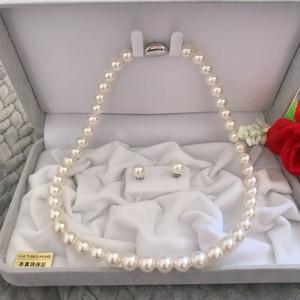 あこや真珠ネックレス8.5-9.0mm ピアスセットケース付き