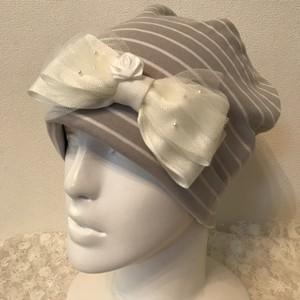 バラとパール、チュールのケア帽子 ボーダー24