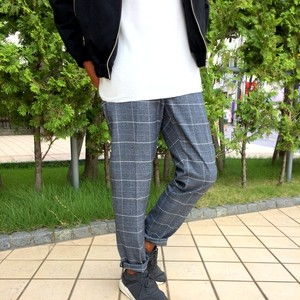 Stretch Check Slacks Pants Charcoal