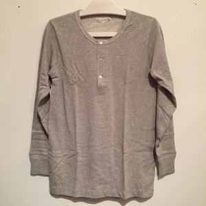 【Merz b.Schwanen】206 HENLEY NECK LONG SLEEVE [GREY MEL]