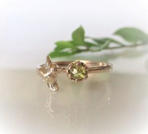 天然ダイヤとハチドリの指輪(K10)