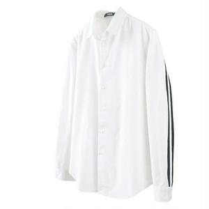 送料無料メンズスポーティ長袖ストライプ白シャツ
