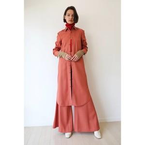 ウールレーヨンパイピングロングシャツドレス