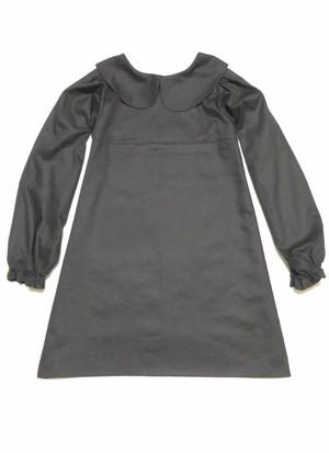 【特別セール】ふっくら長袖とミニ丈のバランスが可愛いシンプルな丸襟リトルブラックドレス Aライン ワンピース コットン100% 万能 一点もの
